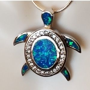 Jewelry - Inlay Fire Opal & White Topaz Turtlw Pendant 1""